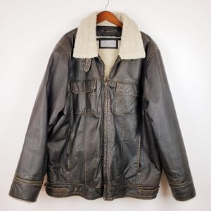 Distressed Leather Jacket Shearling Lined sz 2XLT